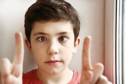 Preteen boy with strabismus